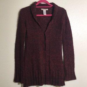 Free People knit open cardigan burgundy sweater